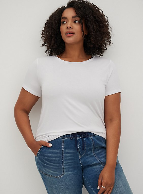 Super Soft White Crew Neck Tee, , hi-res