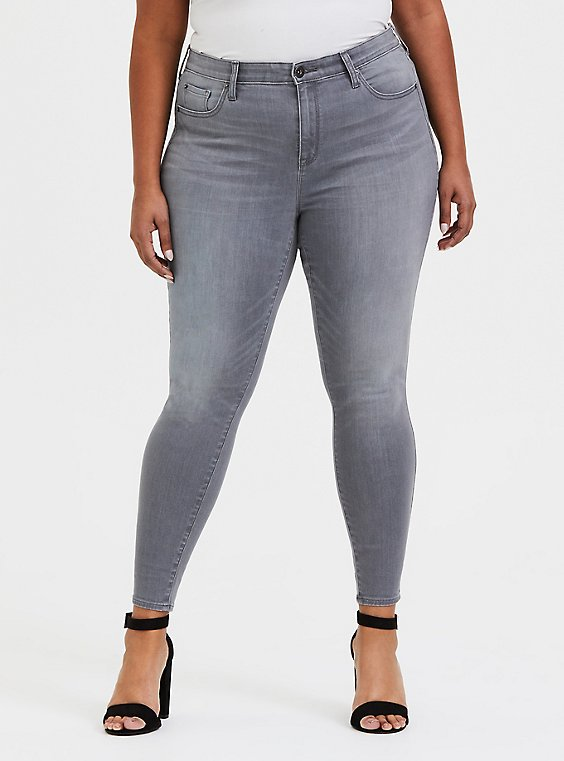 Plus Size Sky High Skinny Jean - Super Soft Grey, , hi-res