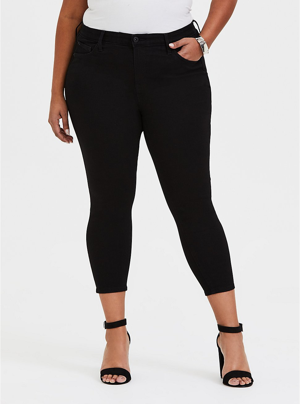 Plus Size Crop Sky High Skinny Jean - Premium Stretch Black, BLACK, hi-res