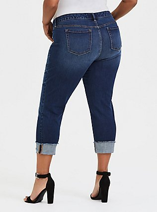 Plus Size Crop Boyfriend Jean - Vintage Stretch Dark Wash, THE VALLEY, alternate