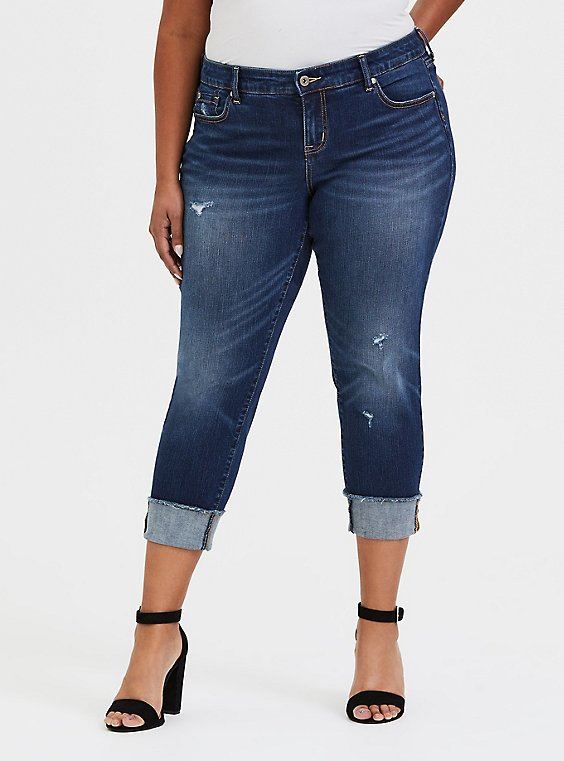 Plus Size Crop Boyfriend Jean - Vintage Stretch Dark Wash, , hi-res