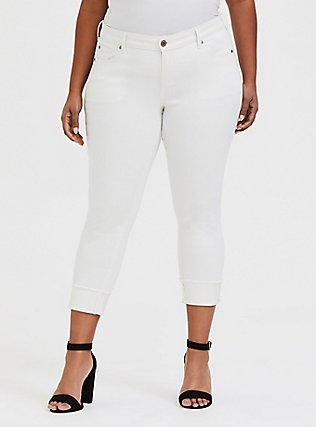 Plus Size Crop Boyfriend Jean - Vintage Stretch White, FRENCH VANILLA, hi-res