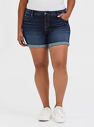Midi Short - Vintage Stretch Dark Wash, KEEP IT 100, hi-res