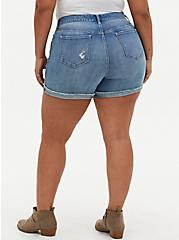 High Rise Mid Short - Vintage Stretch Medium Wash , ROLL OUT, alternate