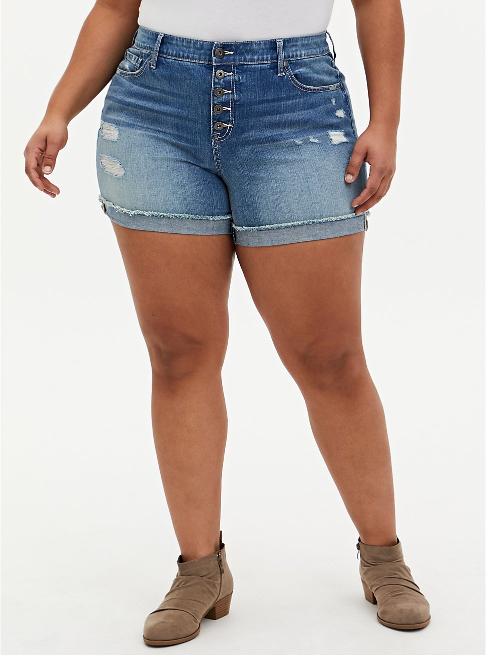 Plus Size High Rise Mid Short - Vintage Stretch Medium Wash , ROLL OUT, hi-res