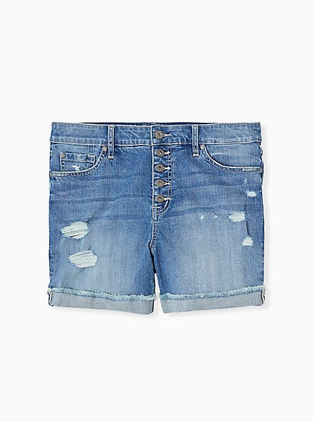 High Rise Mid Short - Vintage Stretch Medium Wash , ROLL OUT, hi-res