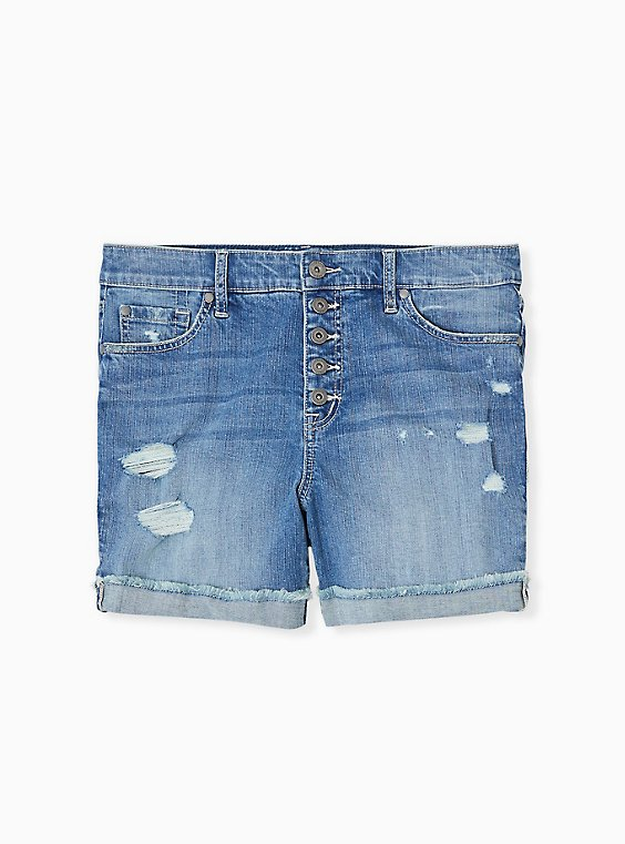 Plus Size High Rise Mid Short - Vintage Stretch Medium Wash, ROLL OUT, ls