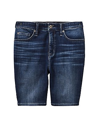 Sky High Skinny Bermuda Short - Super Soft Dark Wash, COSMIC BLUE, flat