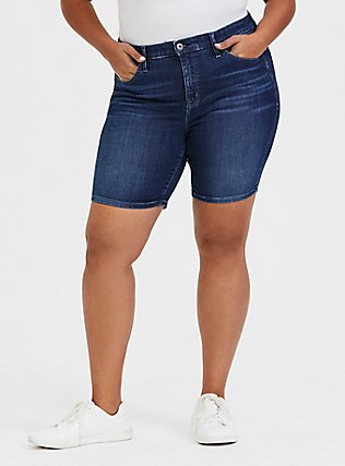 Sky High Skinny Bermuda Short - Super Soft Dark Wash, COSMIC BLUE, hi-res