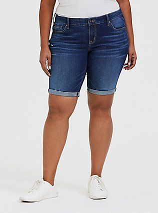 Boyfriend Bermuda Short - Vintage Stretch Dark Wash, PRIMO, hi-res