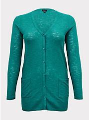 Emerald Green Boyfriend Cardigan, CADMIUM GREEN, hi-res