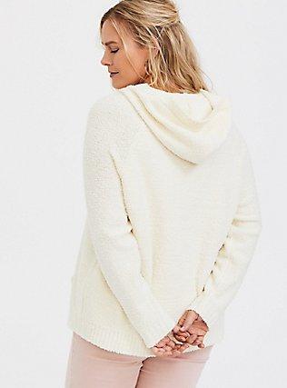 Ivory Fuzzy Knit Pullover Hoodie, WINTER WHITE, alternate