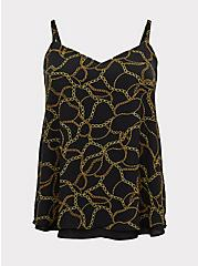 Sophie - Black Chain Print Double Layer Swing Cami , CHAINS - BLACK, hi-res