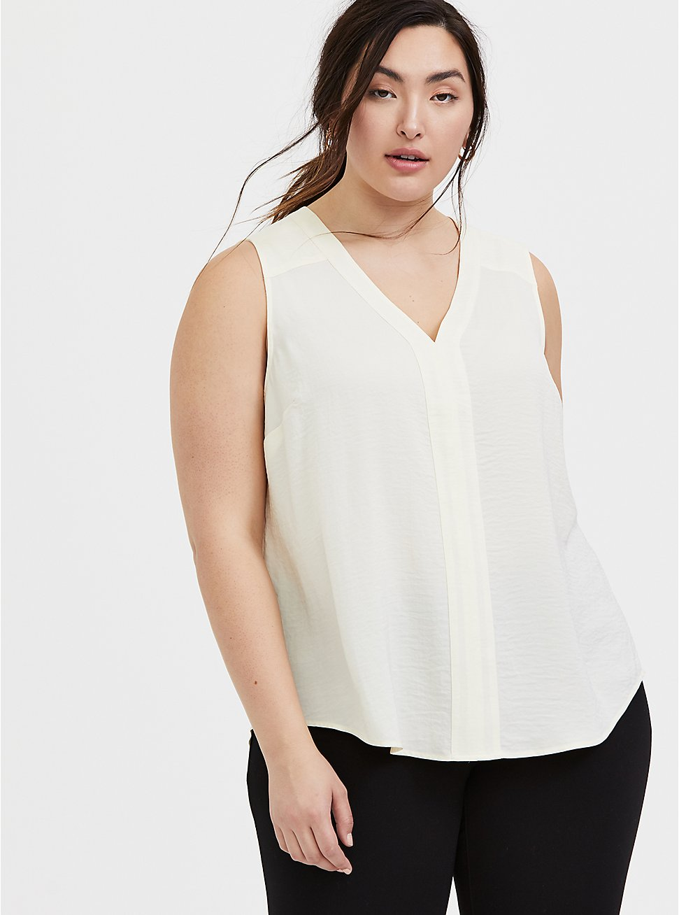 Ivory Textured Charmeuse Tank, WINTER WHITE, hi-res