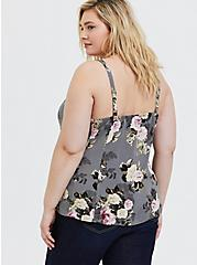 Grey Floral Challis Fit & Flare Midi Cami, MULTI, alternate