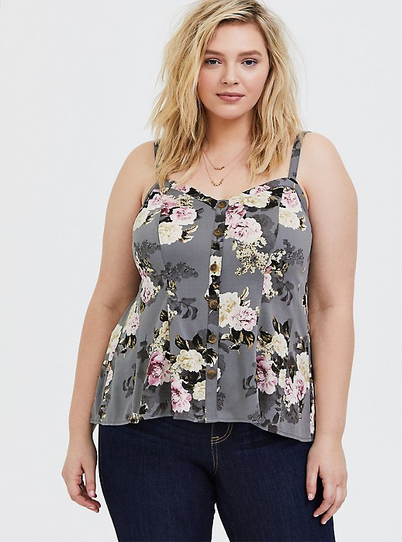 Plus Size Grey Floral Challis Fit & Flare Midi Cami, , hi-res