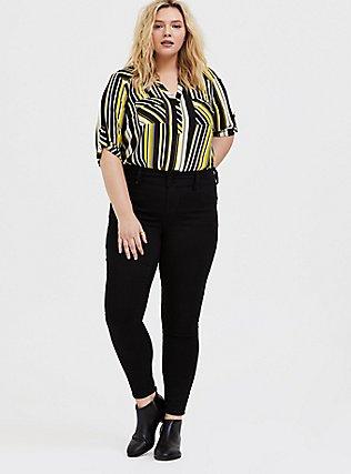 Harper - Yellow & Black Stripe Georgette Pullover Blouse, STRIPES, alternate