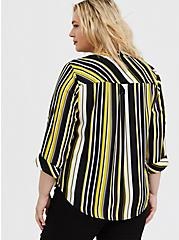 Plus Size Harper - Yellow & Black Stripe Georgette Pullover Blouse, STRIPES, alternate