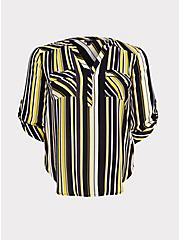 Plus Size Harper - Yellow & Black Stripe Georgette Pullover Blouse, STRIPES, hi-res