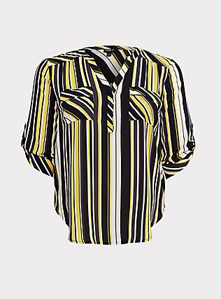 Harper - Yellow & Black Stripe Georgette Pullover Blouse, STRIPES, flat
