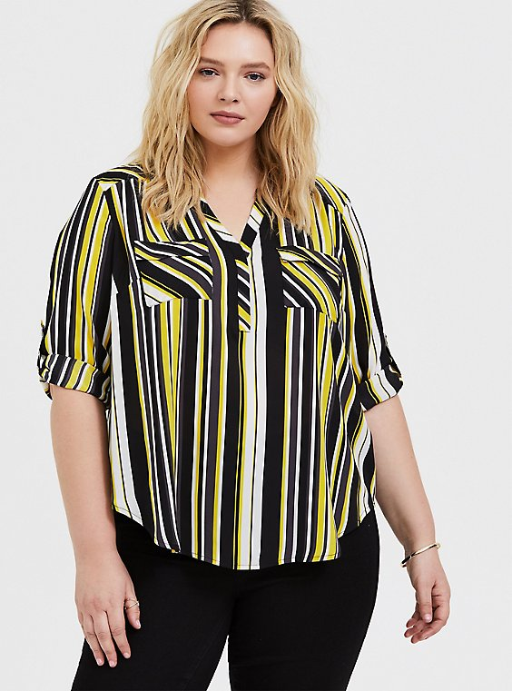 Plus Size Harper - Yellow & Black Stripe Georgette Pullover Blouse, , hi-res