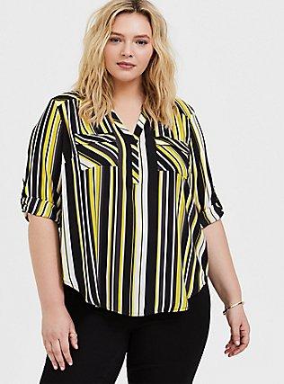 Harper - Yellow & Black Stripe Georgette Pullover Blouse, STRIPES, hi-res