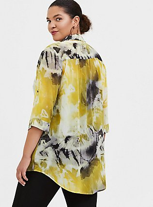 Yellow Tie-Dye Chiffon Button Front Tunic Blouse, MULTI, alternate
