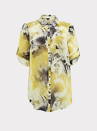 Yellow Tie-Dye Chiffon Button Front Tunic Blouse, MULTI, flat