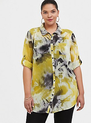 Yellow Tie-Dye Chiffon Button Front Tunic Blouse, MULTI, hi-res