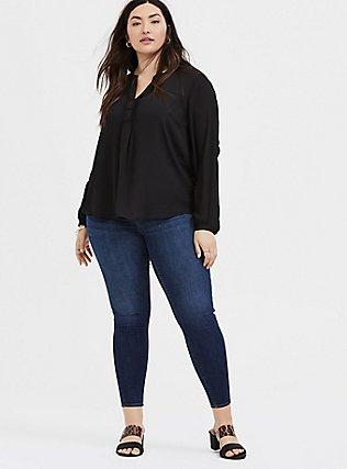 Plus Size Black Georgette Pintuck Button Down Blouse, DEEP BLACK, alternate