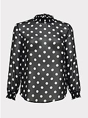 Black Sheer Chiffon Polka Dot Smocked Mock Neck Blouse, DOTS - IVORY, hi-res