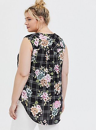Harper - Black Floral Plaid Georgette Pullover Tank, MULTI, alternate