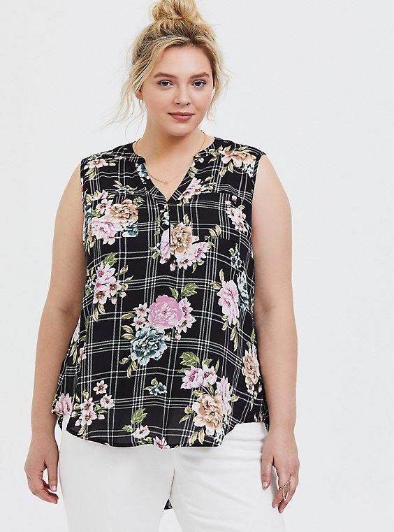Plus Size Harper - Black Floral Plaid Georgette Pullover Tank, , hi-res