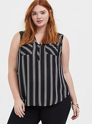 Harper - Black & White Stripe Georgette Pullover Tank, STRIPES, hi-res