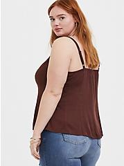 Plus Size Raisin Brown Challis Fit & Flare Midi Cami, PUCE, alternate