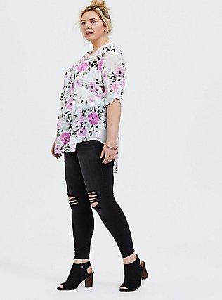 Emma - White Floral Chiffon Babydoll Tunic, FLORAL - IVORY, alternate