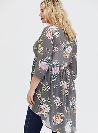 Lexie - Grey Floral Chiffon Hi-Lo Babydoll Tunic, FLORAL - GREY, alternate