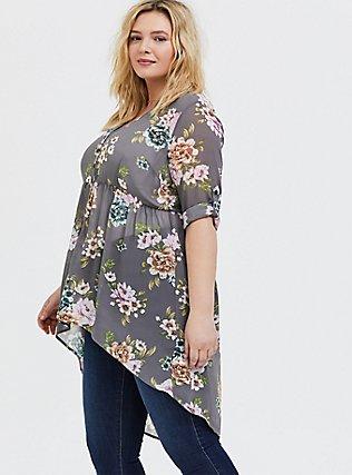 Plus Size Lexie - Grey Floral Chiffon Hi-Lo Babydoll Tunic, FLORAL - GREY, hi-res
