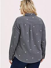 Taylor - Grey Denim Daisy Embroidered Button-Front Classic Fit Shirt, SMOKED PEARL, alternate