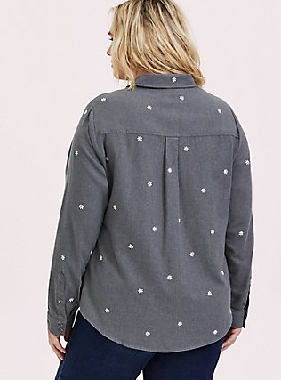 Plus Size Taylor - Grey Denim Daisy Embroidered Button-Front Classic Fit Shirt, SMOKED PEARL, alternate