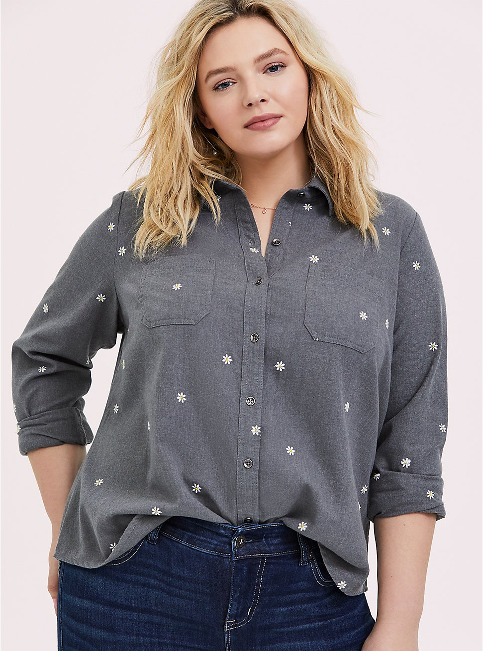 Taylor - Grey Denim Daisy Embroidered Button-Front Classic Fit Shirt, SMOKED PEARL, hi-res