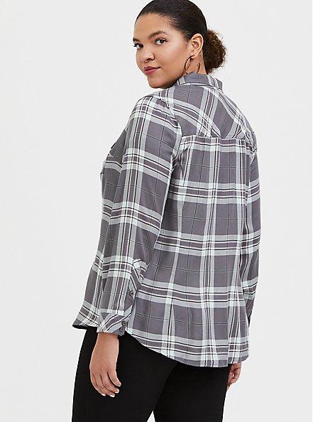 Plus Size Taylor - Grey Plaid Twill Button Front Slim Fit Shirt, PLAID - GREY, alternate