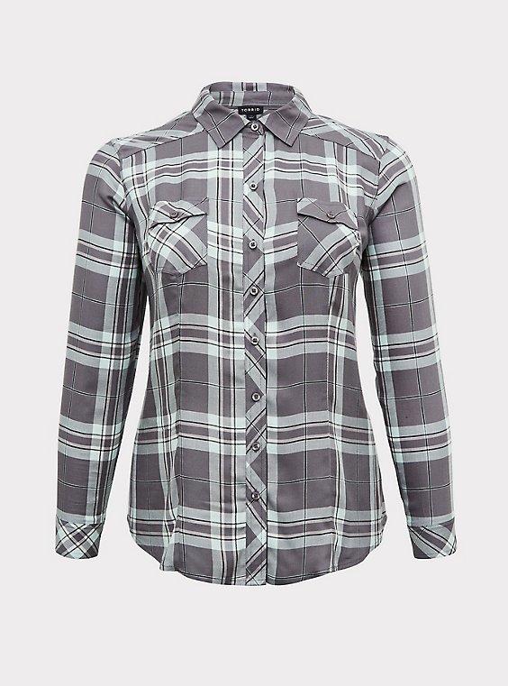 Taylor - Grey Plaid Twill Button Front Slim Fit Shirt, , flat