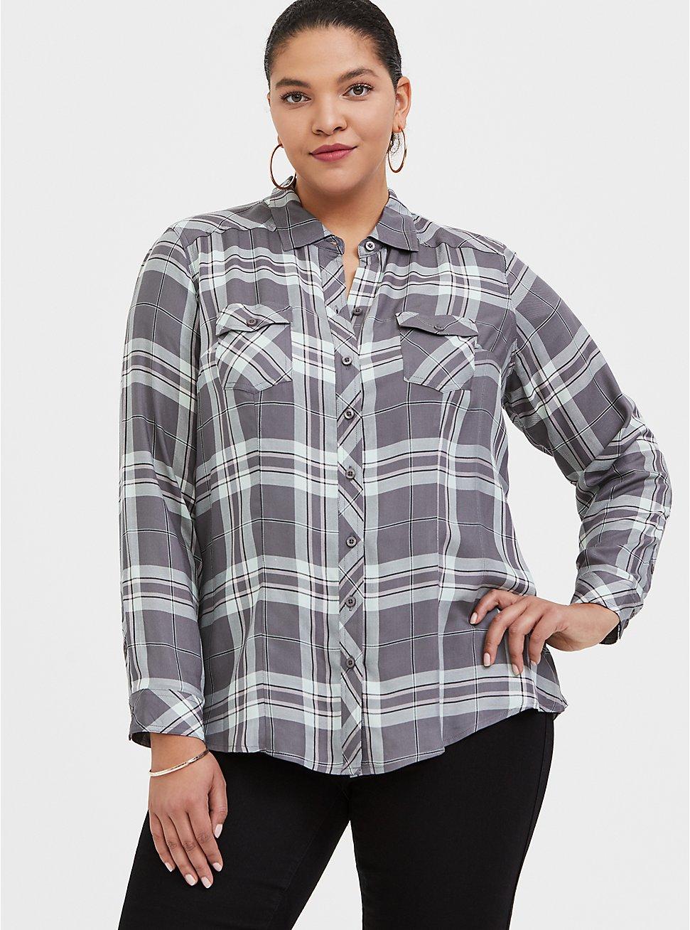 Plus Size Taylor - Grey Plaid Twill Button Front Slim Fit Shirt, PLAID - GREY, hi-res