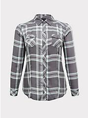 Taylor - Grey Plaid Twill Button Front Slim Fit Shirt, PLAID - GREY, hi-res