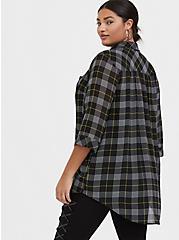 Black Plaid Chiffon Button Front Tunic, PLAID - BLACK, alternate
