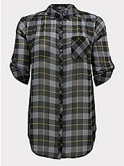 Black Plaid Chiffon Button Front Tunic, PLAID - BLACK, hi-res