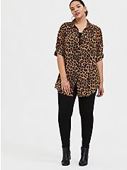 Leopard Print Chiffon Button Front Tunic Blouse, LEOPARD - YELLOW, alternate