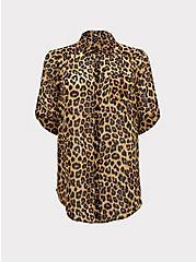 Plus Size Leopard Print Chiffon Button Front Tunic Blouse, LEOPARD - YELLOW, hi-res