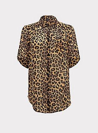 Leopard Print Chiffon Button Front Tunic Blouse, LEOPARD - YELLOW, flat
